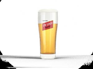 Mockup van een bierglas met eigen logo